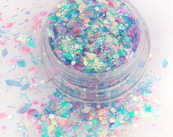 Cuppy Cake - Pink and Blue, Iridescent Cosmetic Glitter For Face, Body, Festival & Creative Makeup, Crafts And Slime
