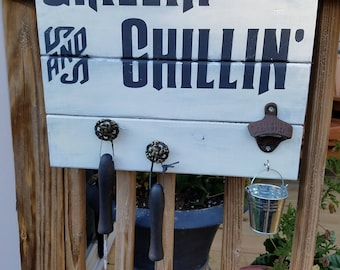 Grillin and Chillin BBQ Grill Outdoor Sign