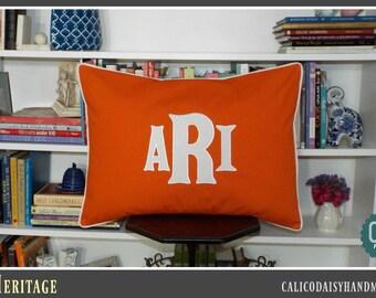Heritage - Large Font Applique Monogrammed Pillow Cover - Standard Sham