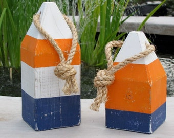 Nautical Buoys, Wood  Set of 2. Available in Assorted Colors