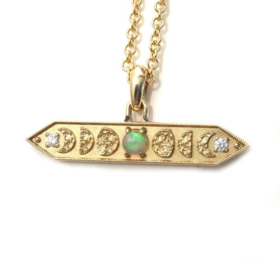 Opal and Diamond Moon Phase Bar Pendant - 14k Yellow Gold - Ready to Ship