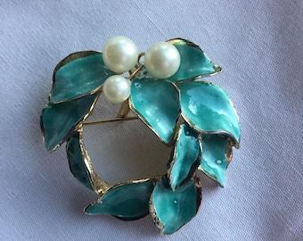 Vintage DiNicola Blue Enamel Pearl Pin