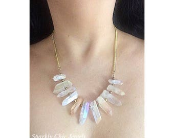 Ivory Quartz Necklace, Quartz necklace, Electroplated Necklace, Ivory necklace, layered necklace, spike necklace
