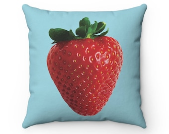 Blue Strawberry Pillow Cover | Strawberry Throw Pillow Cover | Strawberry Decorative Pillow | Throw Pillow | Decorative Pillow