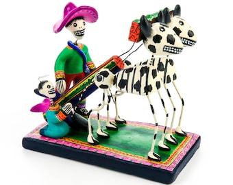 Dia De Los Muertos Clay Folk Art Oxen & Yoke Yunta Day Of The Dead Skull Folk Art