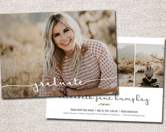 Graduation Announcement, Graduation Invitation, Photo Graduation Announcement, Printable Graduation Announcement (graduate 2 sided)