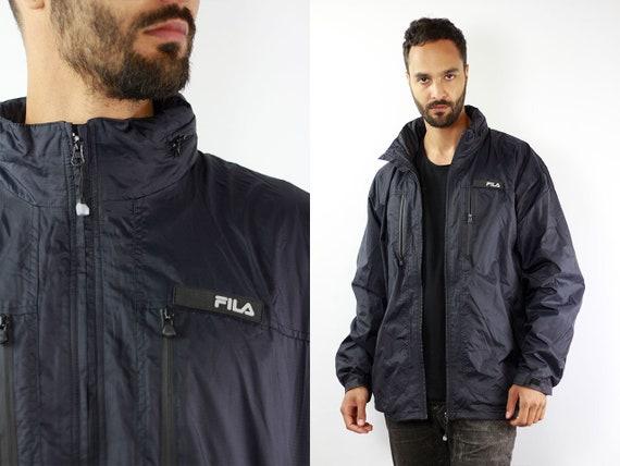 Black Fila Jacket Fila 90s Jacket Fila Windbreaker Fila Shell Jacket Vintage Fila Windbreaker 90s Fila Windbreaker Vintage Windbreaker Fila