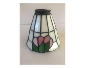"Tiffany Style Mini Lamp Shade White+Pink+Green 5"" x 6"" Glass & Metal"
