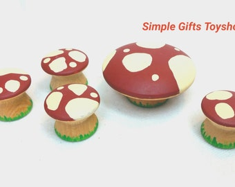 Dark Red Mushrooms // Table and Chair Toadstool Set // Multicolored mushrooms // PegCorn Accessories// Waldorf Nature Table