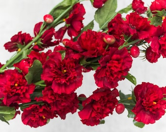 """2/3/6 pcs 25"""" Red Hollyhock Branch Bush, 5 base stems, Artificial Craft Floral Supplies Faux Wedding Flowers Centerpieces, Fake Spring Decor"""