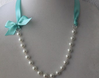 White Pearl and Robins Egg Blue Ribbon Bow Necklace