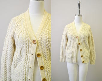 1970s Irish Wool Cable Knit Cardigan Sweater