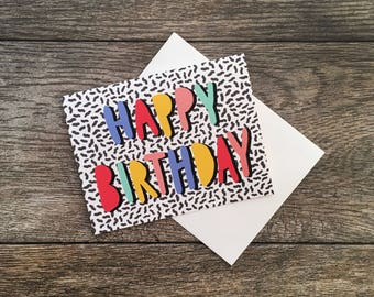 Happy Birthday Memphis Design Greeting Card