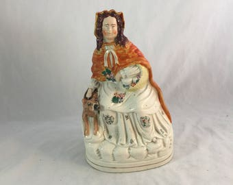 Large English Staffordshire Red Ridinghood From The 1800's