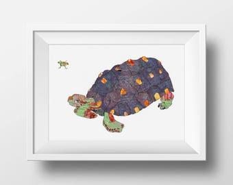 Turtle Art Print - Tortoise Art - Animal Art print - Reptile art - 5x7, 8x10, 11x14, or 13x19 - Open Edition