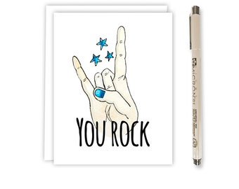 Thank You Card - You Rock - Thank You - Card for Coworker - Rocker Thank You Card