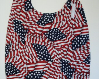 Adult Bib Clothes Protector in Patriotic Flag Print Side Neck Closure READY TO SHIP