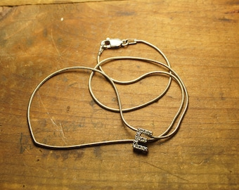 Sterling Necklace with 10K White Gold Letter E Charm