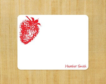 Stationery set of 8 PERSONALIZED Strawberry Note Cards