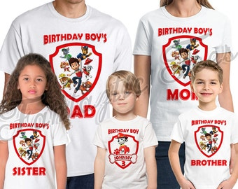 Paw Patrol Birthday Shirt Add Name & Age Custom  Marshall Birthday Party TShirt 08