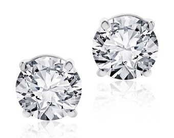 1.62 Carat Round Diamond Stud Earrings F-G/VS2 14K White Gold