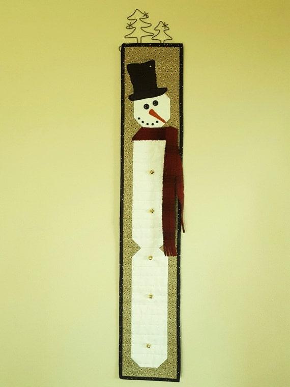 SNOWMAN QUILT SKINNY Seasonal Tall Narrow Christmas decor wall