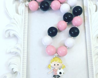Pink And Black Soccer Girl Bubblegum Necklace, Soccer Girl Chunky Necklace, Soccer Chunky Necklace,Pink And Black Soccer Necklace