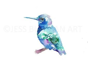 Watercolor Print of Hummingbird, Hummingbird Painting, Hummingbird Watercolor, Bird Watercolor, Green Hummingbird Art, Bird Painting