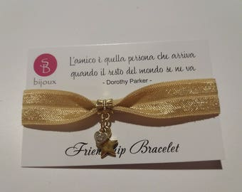 Gold Friendship Bracelet with Star and Heart Gold Coloured