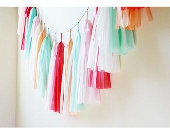 Little Alice Tassel Garland, Coral Mint Banner, Coral Cake Smash, Peach Mint Birthday, Baby Girl Nursery, Pink Peach Mint Banner, Cake Smash