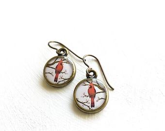 CARDINAL EARRINGS / Handmade Earrings / Cardinal Jewelry / Grandmothers Gift Cardinal Gift