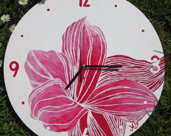 Wooden red rose flower modern clock
