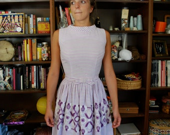 Striped Purple Vintage 1950's Dress
