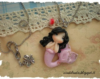 Pink princess mermaid doll necklace (Polymer clay)
