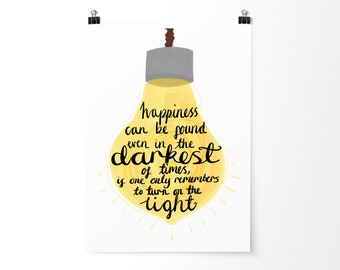 Harry Potter Quote Print   Light Can Be Found   Dumbledore Print   Inspirational Quote Print   Happiness Quote   Harry Potter Art   Decor  