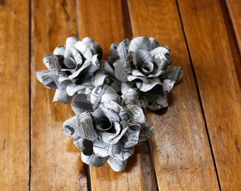 Comic Book Paper  Roses - 12 Pcs - for Weddings and Craft Projects