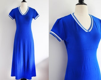 Vintage retro stripes cobalt blue maxi dress / 1970's jersey athletic stripe sleeve cuff dress