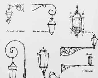 Black and White Drawing of Lamps around the World - Paris, Venice, Florence, Sevilla Rome