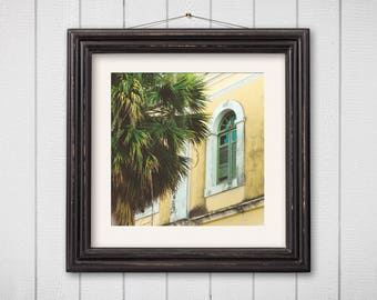 Architecture Photography Old San Juan Puerto Rico Pastel Buildings Teal Door Travel Fine Art Palm Trees Tropical Art Home Decor Yellow House