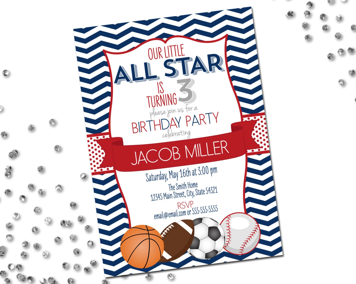 All Star Sports Birthday Party Invitation Basketball