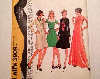 1973 McCall's Pattern # 3909 Dress, Misses Size 18, Uncut