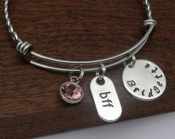 BFF name bracelet gift, best friend bracelet, BFF bangle, BFF name jewellery, personalised best friend gift, birthstone, name, word, text