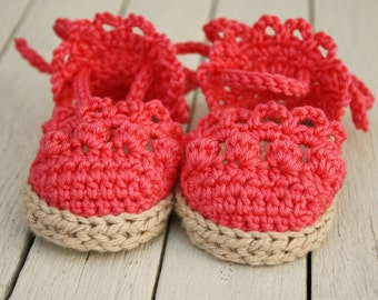 Baby Espadrilles - Girl Sandals - Crochet Baby Booties - Newborn Shoes - Made to Order