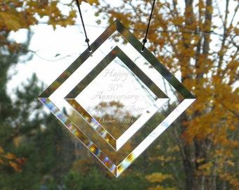50th Anniversary, 40th Anniversary, Any Anniversary, Wedding, Birthday, Glass Bevel Suncatcher, Personalized Beveled Glass Suncatcher, C118