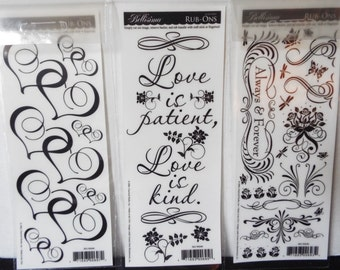 Set of Three Bellisimo Hearts Love Rub Ons Sheet Single Sided Acid Free