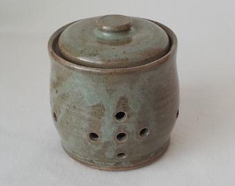 Stoneware Garlic Keeper - Ceramic Shallot Canister - Pierced Food Storage Jar - Kitchen Counter Item - Apple Green - Ready to Ship  s552