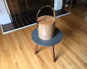 Mid Century Modern signed Morgan Bucket Brigade ice bucket with Teak lid and brass handle