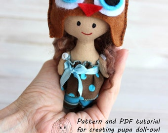 Pattern and PDF tutorial for creating doll-owl,doll sewing pattern,softie pattern, doll sewing pattern,easy doll pattern,tutorial in russian