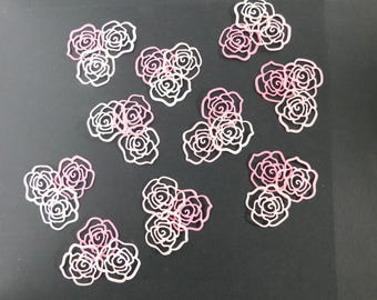 Pink rose confetti Paper Die Cut pink Roses scrapbooking Paper Crafting embellishments Baby shower Die cuts wedding confetti Teacher craft