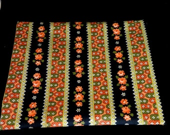 Orange and Black Cotton Floral Fabric 1 Yard